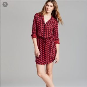 Splendid • red windowpane drawstring shirt dress